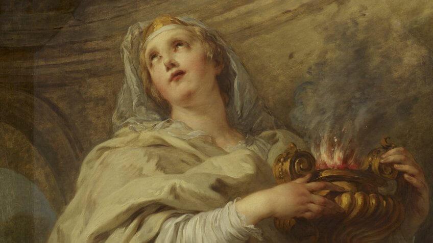 Vestal virgin and a pot of fire