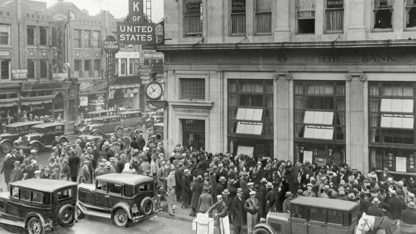 Shortly after the Wall Street Crash of 1929, the Brooklyn Branch of the Bank of the United States closes its doors