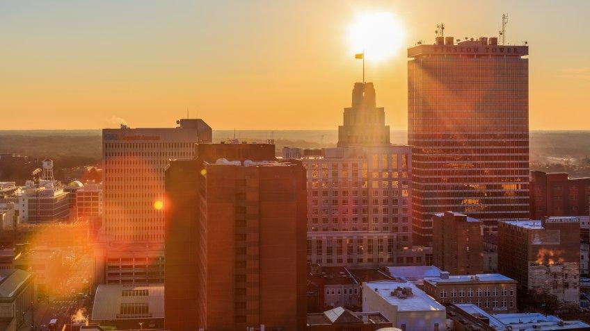 Sun rises in downtown Winston-Salem, North Carolina.