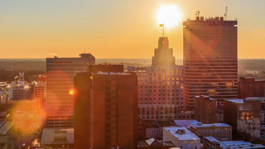 Sun rises in downtown Winston-Salem, North Carolina.