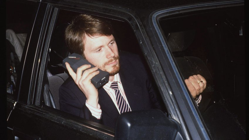 Yuppie with Mobile Phone in 1988