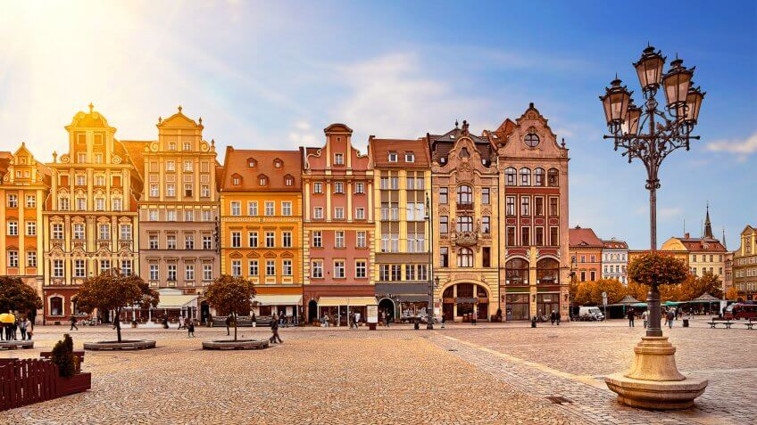 central market square in Wroclaw Poland