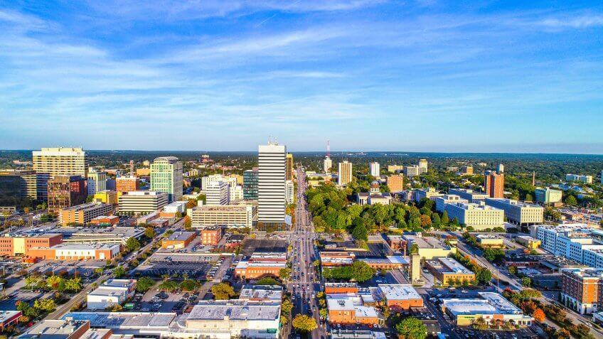 Downtown Columbia South Carolina Skyline SC Aerial Panorama.