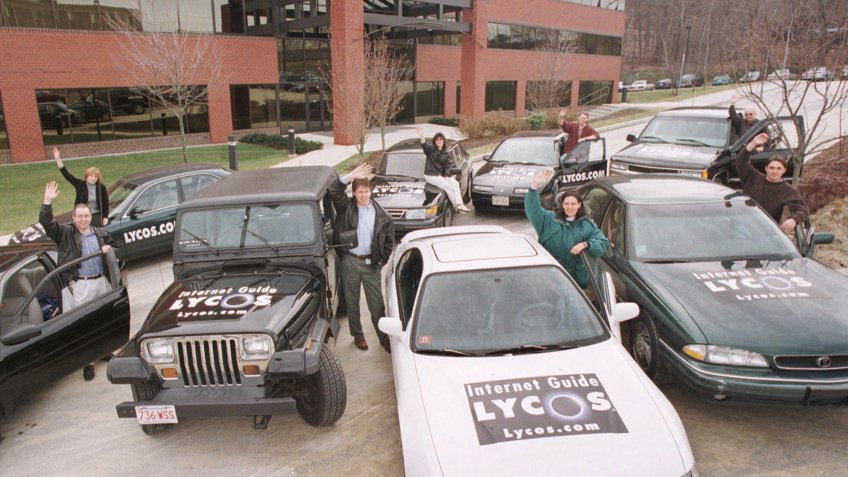Group of Lycos Inc employees display their personal cars