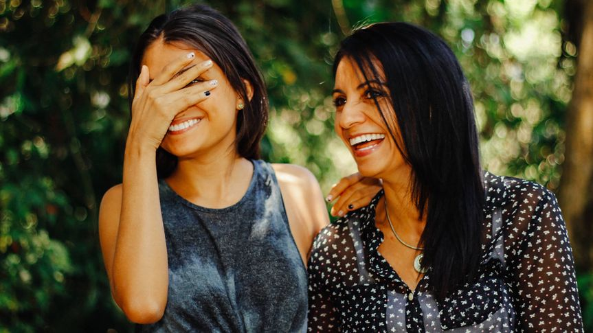 Mother and daughter having fun.