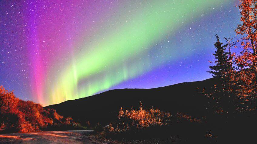 northern lights in denali national park, alaska