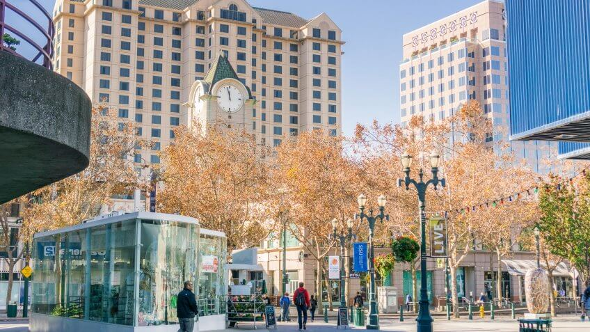 pedestrians in Downtown San Jose California