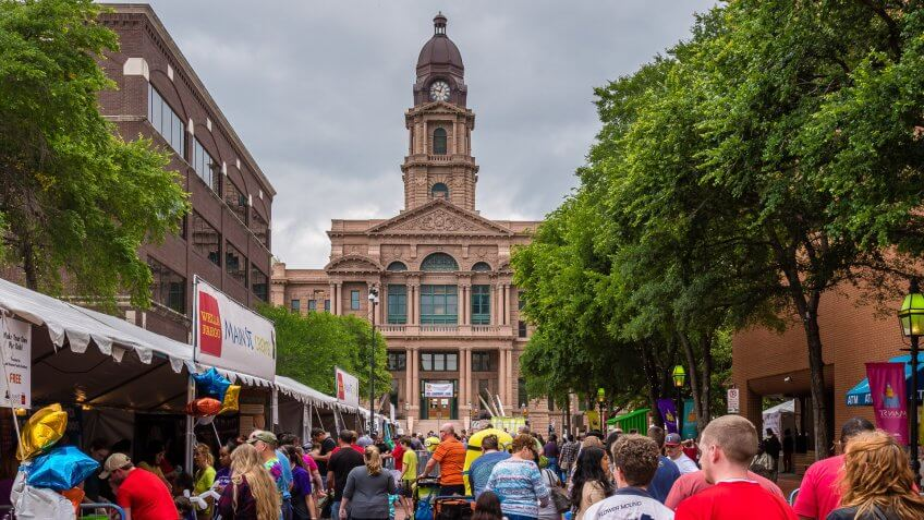people attend Arts Festival in Fort Worth Texas
