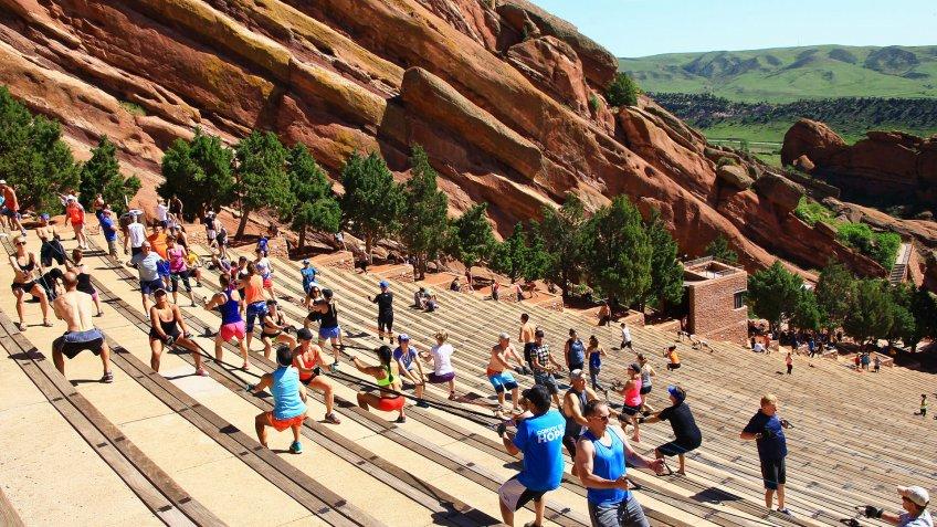 people exercising in Red Rocks Parks in Denver Colorado