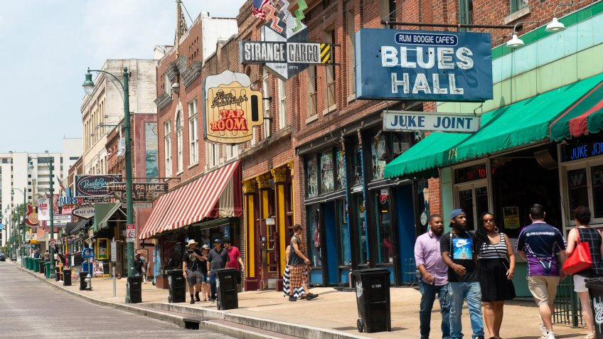People walk on Beale Street in Memphis Tennessee