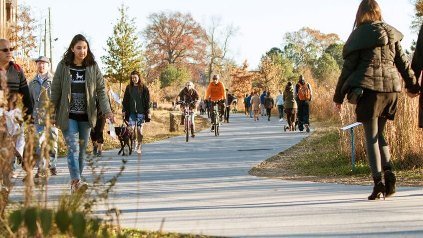 people walking and bicycling in The Beltline in Atlanta Georgia
