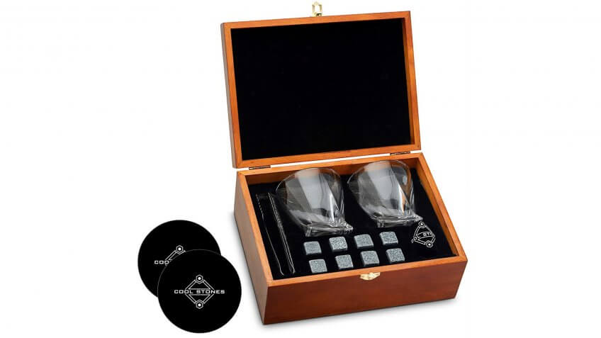 Whiskey Stones and Whiskey Glass Gift Boxed Set