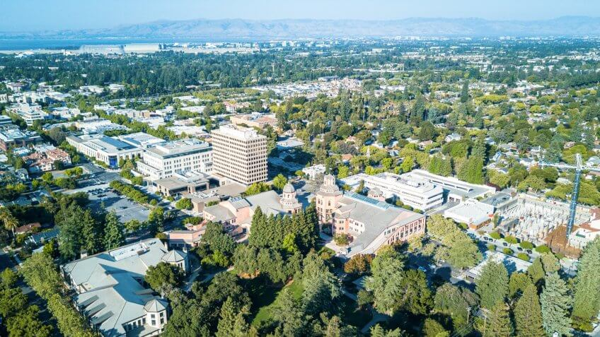 Drone view of  downtown Mountain View in California.