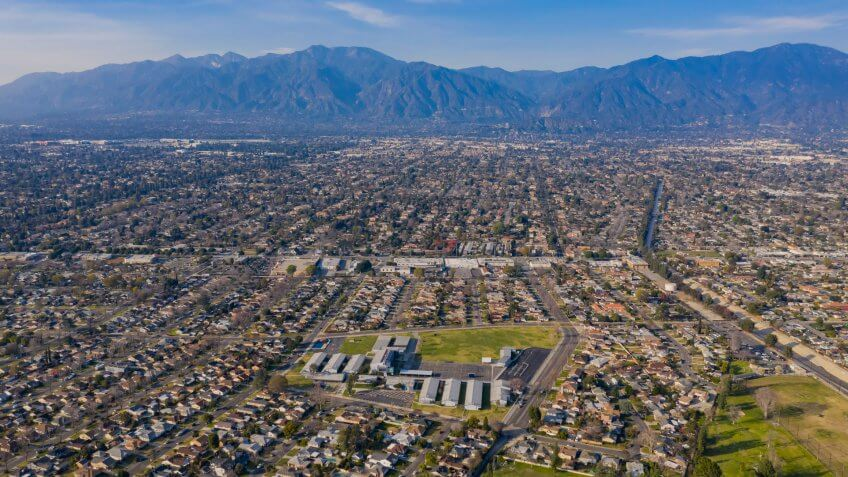 Aerial view of the beautiful Arcadia area at Los Angeles, California - Image.