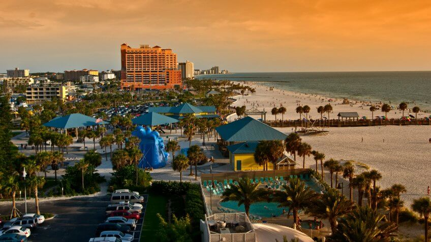 Clearwater Beach sunset high angle.