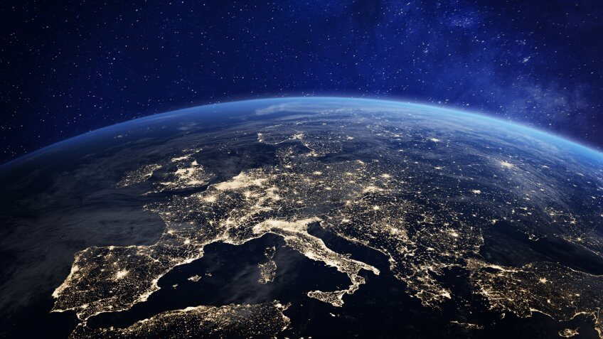 Europe at night viewed from space with city lights showing human activity in Germany, France, Spain, Italy and other countries, 3d rendering of planet Earth, elements from NASA - Image.