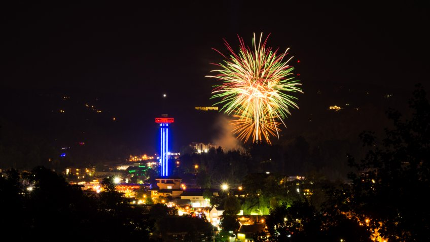 Fourth of July Fireworks over Gatlinburg, TN from the gatlinburg overlook in the Great Smoky Mountains National Park along the bypass.