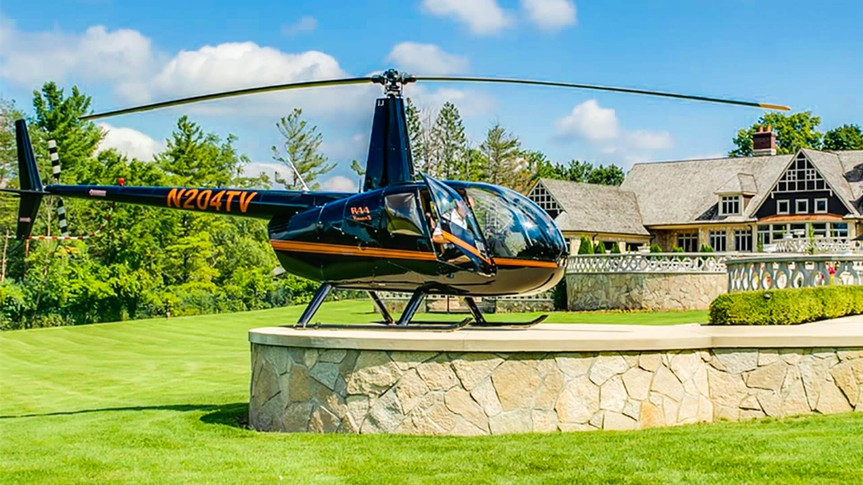 French Country Manor in Old Township, Michigan helipad