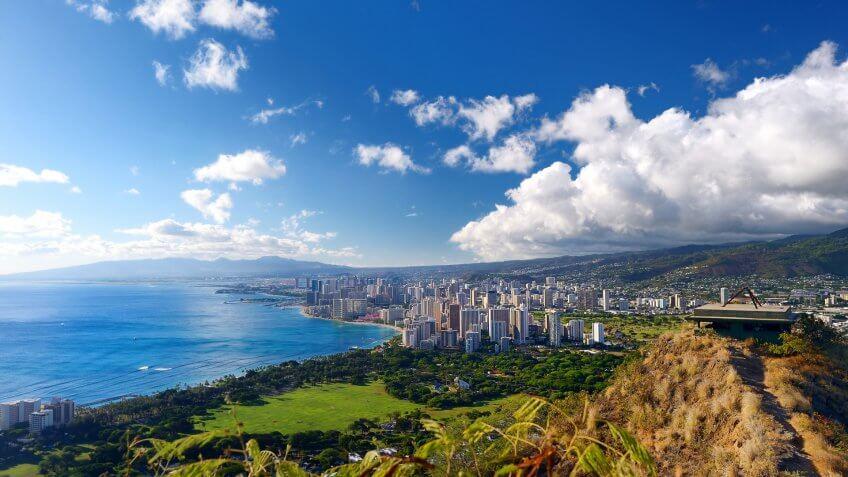 Spectacular view of Honolulu city, Oahu, Hawaii.