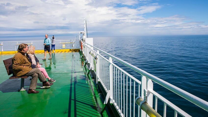Irish Sea, Ireland - August 12th 2018: Onboard an Irish Ferries ship on the Irish Sea between Holyhead in Wales and Dublin in the Republic of Ireland.