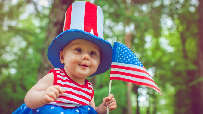 Cute baby celebrating Independence day.