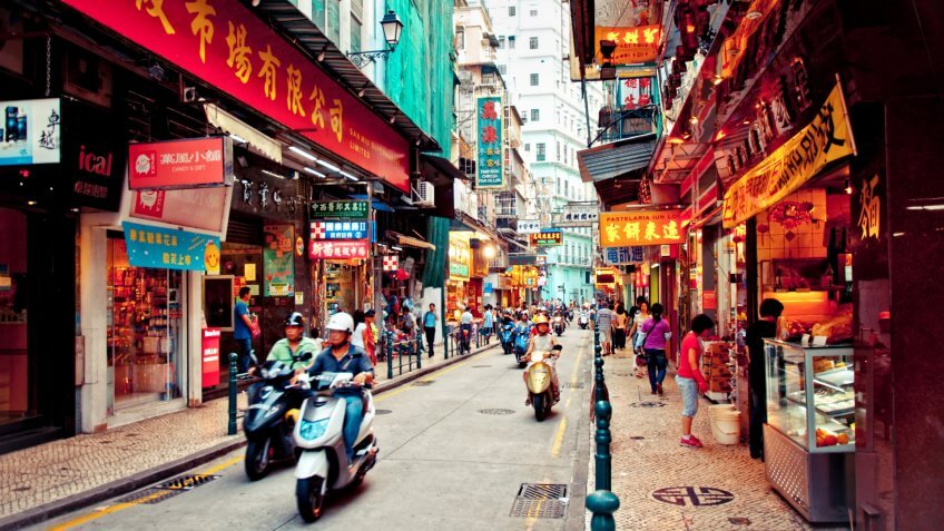MACAU - AUGUST 1:view on downtown street on August 1, 2012 in Macau, China.