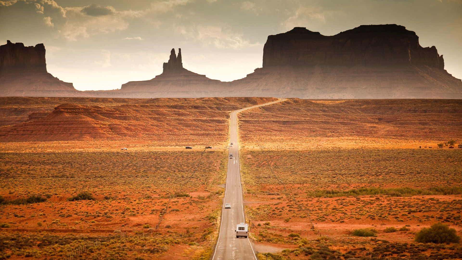 Motor home camper on vacation in the southwest USA red rock landscape near Monument Valley Arizona.