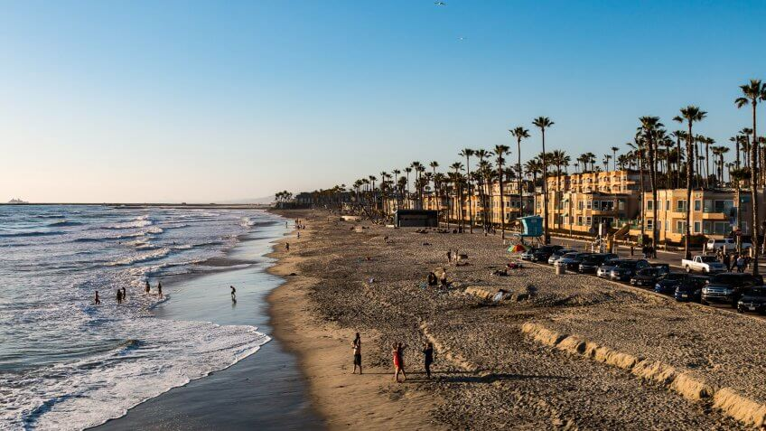 Oceanside, California - March 23, 2017:  People participate in leisure activities on the popular Southern California beach located in San Diego County.