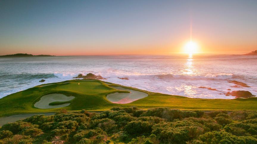 A view of Pebble Beach golf course, Monterey, California, USA - Image.
