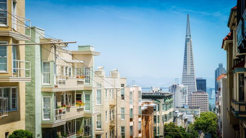 San Francisco, USA - May 10, 2016: San Francisco USA panoramic view of upper apartment buildings towards downtown on a sunny day.