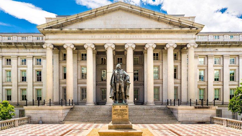 WASHINGTON DC - JUNE 24, 2017: The Treasury Building in Washington D.
