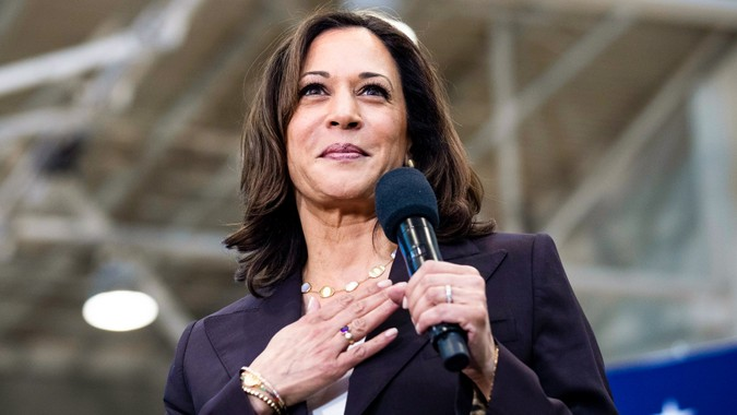 Mandatory Credit: Photo by ETIENNE LAURENT/EPA-EFE/Shutterstock (10241292aq)US Senator Kamala Harris addresses the audience during a rally at Los Angeles Southwest College in Los Angeles, California, USA, 19 May 2019.
