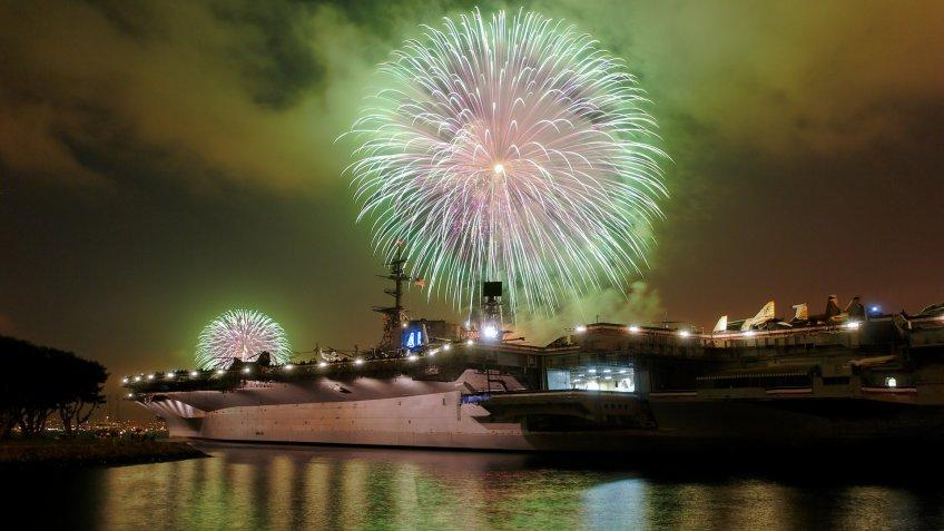 USS Midway Fireworks in San Diego
