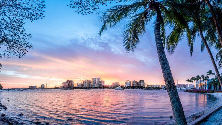 City skyline of west palm beach.