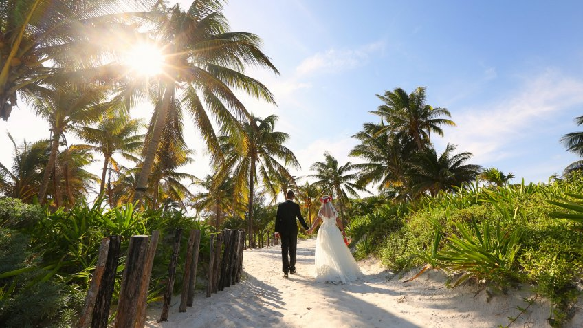 destination wedding with bride and groom