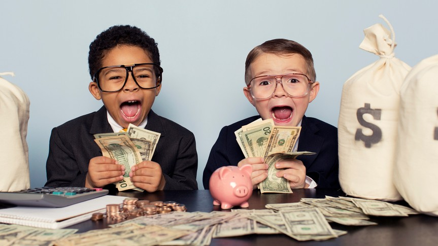 A couple of young businessmen are astounded by the profits coming in.