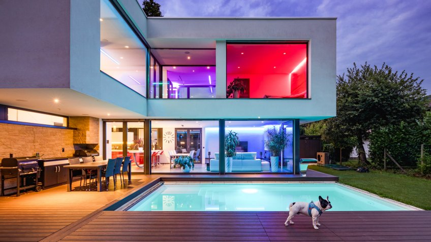 modern house with swimming pool and summer outdoor patio