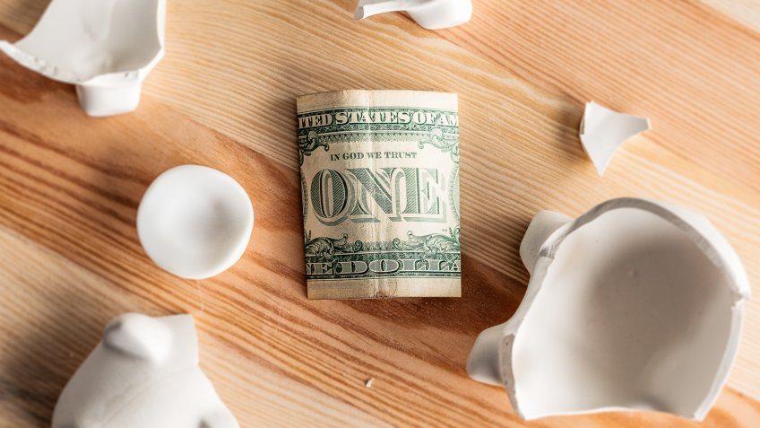 one dollar bill secrets with broken piggy bank