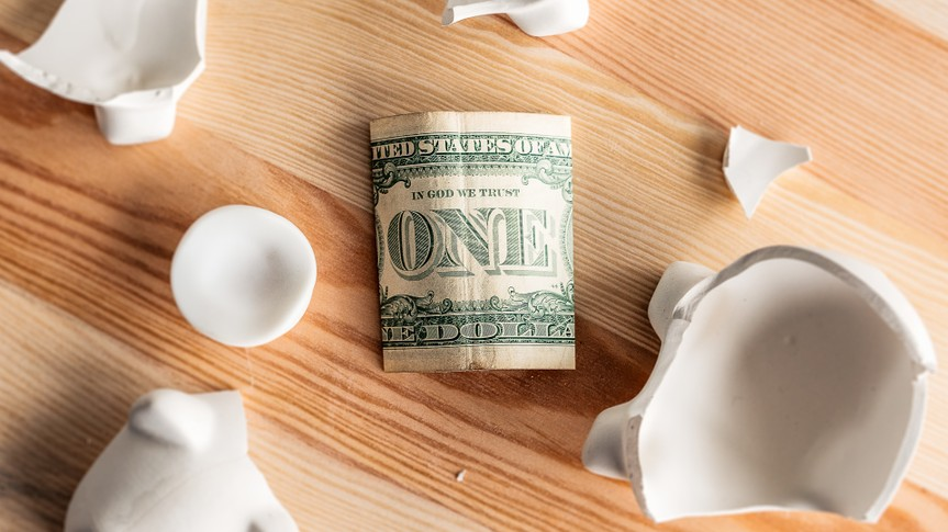 one dollar bill secrets with broken piggy bank
