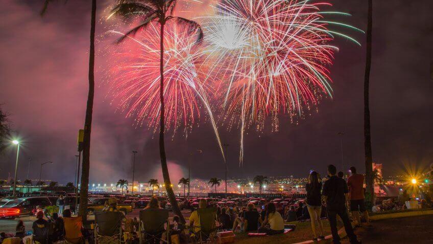 people watching fireworks in Honolulu Hawaii