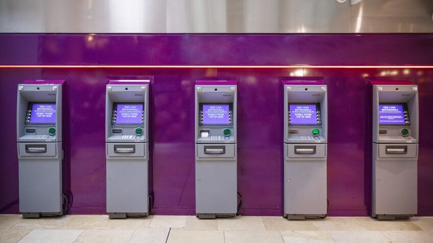 Row of free cash withdrawals ATM machines.