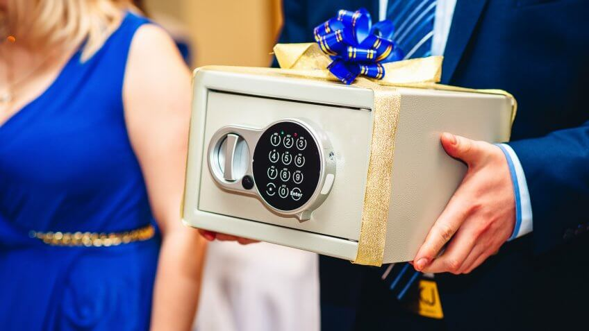 wedding guest holding safe money gift