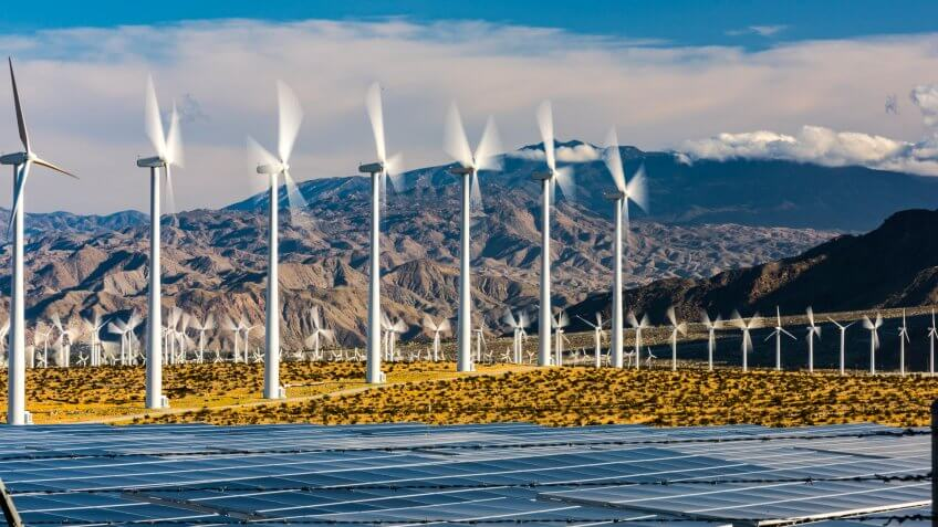 Wind farm with solar panels in southern California.
