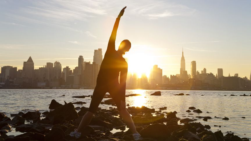 woman exercising in New York City