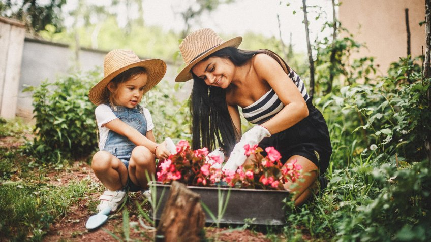 Mother And Daughter Working In The Garden.