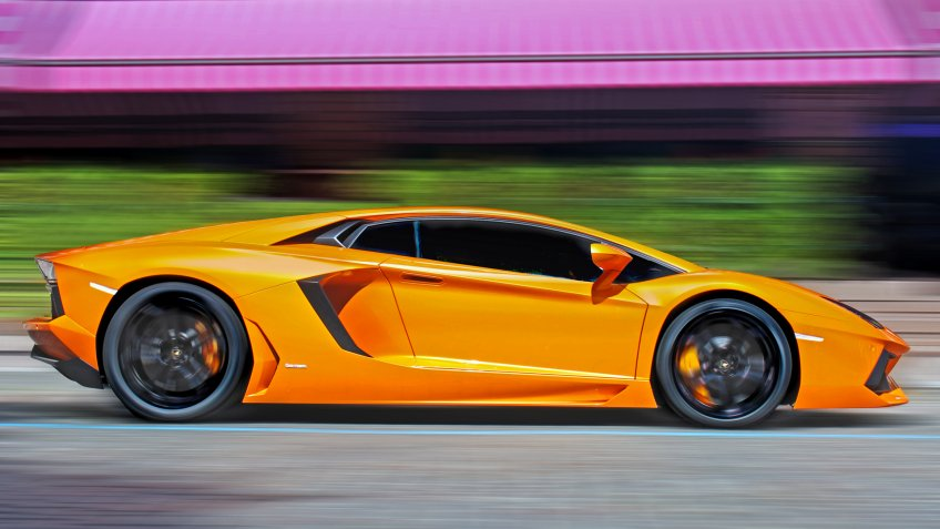 Lamborghini Aventador at high speed.