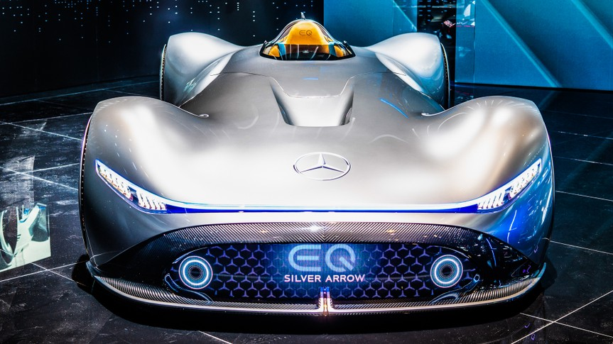 Paris, France, October 02, 2018: Show car: Mercedes-Benz Concept EQ Silver Arrow Electric Intelligence at Mondial Paris Motor Show, produced by Mercedes Benz - Image.