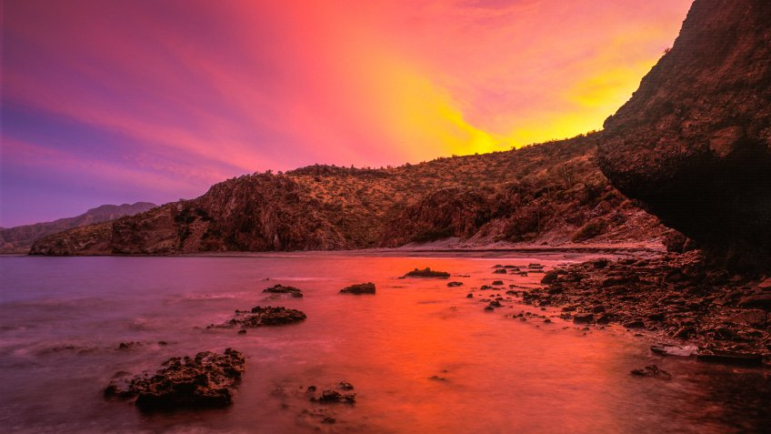 Sunset over the mainland of Baja California Sur, Mexico,.