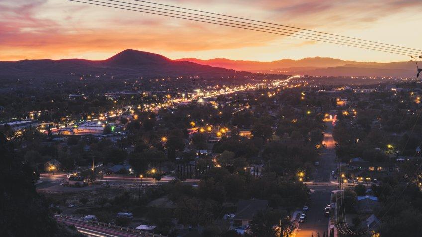 Hurricane town sunset view, Utah - Image.
