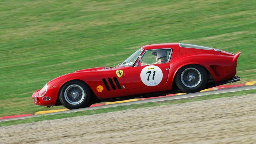 MUGELLO, IT, November, 2007: Unknown run with old 1962 Ferrari 250 GTO at Mugello Circuit in italy during Finali Mondiali Ferrari 2007.
